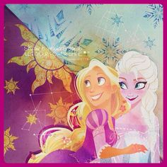 Rapunzel & Elsa edit by: vyettri  Rapunzel & Elsa Character Art by: Brittney Lee