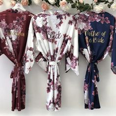 BLOSSOM personalised wedding robes, satin floral bridesmaid robe in burgundy, navy blush or champagn Bridal Party Robes, Wedding Bridesmaid Dresses, Floral Bridesmaid Robes, Navy And Burgundy Wedding, Before Wedding, Dream Wedding, Army Wedding, Maid Of Honor, Up Dos