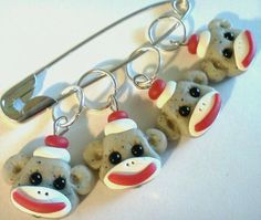 SOCK Monkey  stitch markers for knitting needles by scary2merry, $13.00
