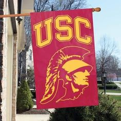 The Party Animal, Inc. AFUSCT USC Trojans Appliqué Banner Flag Trojan Head design