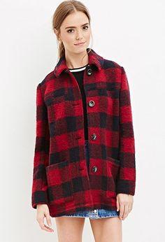 Buffalo Plaid Wool-Blend Coat