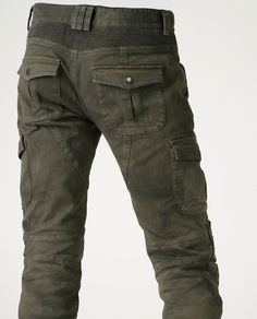 uglyBROS Motorpool, cargo flap pockets, 11oz stretched cotton, elastic shirring knee & waist-lower back panels, CE approved removable knee & hip protectors
