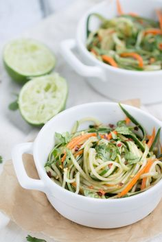 Cucumber Noodles with Sesame Soy Dressing. Use Spiralizer. Add cooked turkey or shrimp for protein.