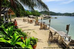 June Juea Beach, Koh Tao, Thailand. From Viewpoint Resort one can look back into Chalok Baan Kao Bay, and access small bars along this shore of the Bay.