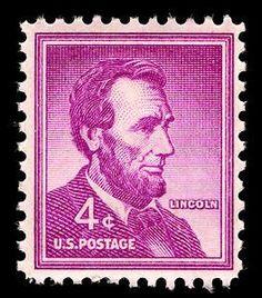 Red violet President Abraham Lincoln postage stamp - USA