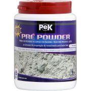 Pek Pré Powder  Trata-se de um pó com alto poder de corte, ideal para a preparação dos revestimentos antes da utilização de Pek Powder, em todas suas versões.   Indicado para a correção de acabamentos defeituosos, remoção de riscos, sujeiras infiltradas e manchas causadas por ataques químicos, principalmente em porcelanatos (de todos os tipos), cerâmicas esmaltadas e mármores em geral. Possibilita que o piso que será tratado com Pek Powder fique com um brilho muito mais intenso…
