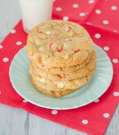 Peppermint-White Chocolate Chip Cookies by Pink Parsley Blog