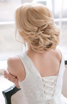 long wavy bridal updo hairstyle via katerina andreeva - Deer Pearl Flowers