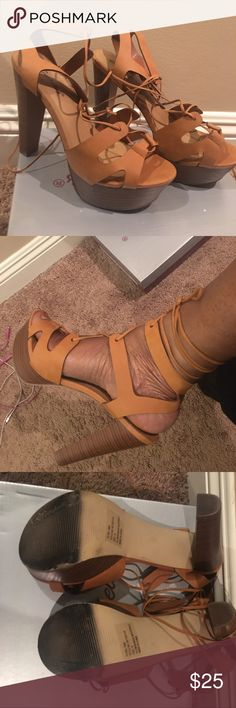 Shoes Tan color wedge heels, strapped. Shoes Wedges