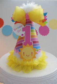 Lil' Rainbow Sunshine Girl - Rainbow, Yellow, Candy Pink - You Are My Sunshine Birthday Party Hat - Personalized Diy Birthday Cake, First Birthday Decorations, Birthday Party Hats, Rainbow Birthday, Baby Birthday, First Birthday Parties, Sunshine Birthday Parties, Sunshine Cake, Crown For Kids