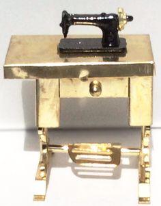 Miniature Gold Metal Sewing Machine