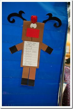 This was a cute idea from First Grade Parade blog.  Inside the head are the reindeer's names and then the kids alpha order them.    http://www.thefirstgradeparade.blogspot.com/