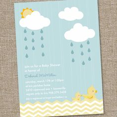 Rainy Day Rubber Duckie Baby Shower Invitation..very cute!