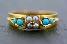 Turquoise Pearl Ring - Antique Victorian 15ct Gold Turquoise and Pearl Ring