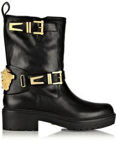 Versace Leather biker boots