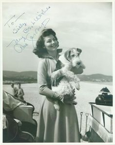 A signed photo of Ava Gardner holding a fox terrier.