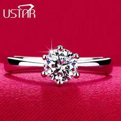 Clásico de Seis Garra 1 Carat 6mm CZ Anillos de Bodas de diamante para las mujeres de Joyería de plata anillos de Compromiso mujer Anel Bijoux marca
