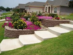 Front Yard Stone Walkways Walkway Retaining Wall Granite Steps - Sloped front yard landscaping ideas