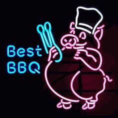 "BEST BBQ PIG NEON SIGN-NN5BBBQ  24"" wide, 24""high, 4"" deep  Proud of your barbecue? Show it with out Best BBQ Pig Neon Sign, featuring multi-colored, hand blown tubing supported on a black, finished metal grid. The Best BBQ Pig Neon Sign can be displayed flat on a wall or in a window or alternately be placed upon a shelf."