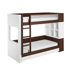 Super stylish bunks & love the cubby holes..just need some for the top bunk too!
