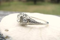Filigree Diamond Engagement Ring 3 Old European Cut by Franziska, $599.00