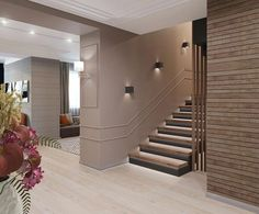 Lights on stairs & wall. Wood finish with black Staircase Interior Design, Home Stairs Design, Home Room Design, Modern House Design, Home Interior Design, Staircase Wall Lighting, Stair Wall Lights, Lights On Stairs, House Staircase
