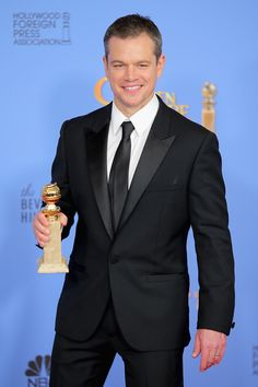Matt Damon,winner of Best Performance by an Actor in a Motion Picture – Musical or Comedy, poses in the press room during the 73rd Annual Golden Globe Awards