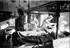 Medical train carrying wounded soldiers from the front, Finland