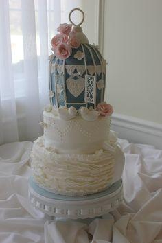 Birdcage Cake with Ruffles & Gum Paste Roses