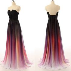 Ombre Prom Dresses New Simple Navy Blue Gradient Chiffon Skirt Long Bridesmaid Dress For Teens,Graduation Dresses