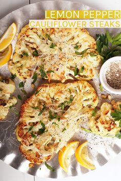 Impress all your friends with this vegan baked Lemon Pepper Cauliflower Steaks. A tender and creamy steak topped with fresh parsley, toasted pine nuts, and non-dairy parmesan cheese. Serve it with pasta or a giant salad for a delicious gluten-free and plant-based meal.  #vegan #cauliflower via @mydarlingvegan