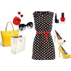 Love red, yellow and black together. Looks like my wedding colors ;) Bryanna  likes for rehearsal dinner or bridal shower