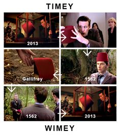 TIMEY WIMEY: 11 sends fez from 2013 to 1562. 10 likes it. 11 sends it from 1562 to Gallifrey. 8.5 brings it back to 1562. Elizabeth puts it in the Under Gallery. 11 finds it in 2013 and sends it back to 1562.