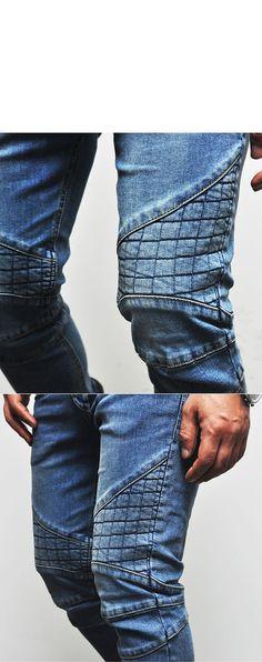 Body-skimming Quilted Slim Blue Biker-Jeans