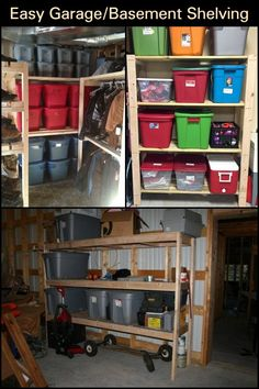 Store all your family's home stuff the right way with this DIY project. Basement Shelving, Saving Ideas, Space Saving, Liquor Cabinet, Home And Family, Garage, Diy Projects, Organization, Store
