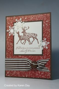 Mistletoe - CTMH Cards -  Patterned papers are Mistletoe; Stamp set is Nature's Gift; Ink is Chocolate; Cardstock is Colonial White & Chocolate; Striped ribbon, hemp & button - all supplies are CTMH.