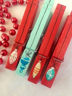 PAINTED CHRISTMAS CLOTHESPINS  red turquoise wooden vintage ornament magnets by SugarAndPaint on Etsy