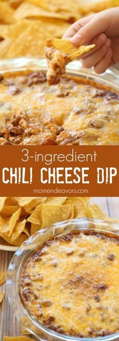 Chili Cheese Dip  Ingredients  1 8oz block of cream cheese (we use the 1/3 less fat variety) 1 can Hormel chili 1-2 cups shredded cheddar cheese   Crockpot or 350 later cream cheese, chili, cheese bake until bubbly