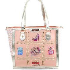 Nicole Lee Sybil Dollhouse Polka Dots Print Shopper Bag - http://handbagscouture.net/brands/nicole-lee/nicole-lee-sybil-dollhouse-polka-dots-print-shopper-bag/