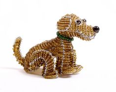 Hand Crafted Brown Puppy Beaded Wire Figurine Sculpture | eBay $14.99
