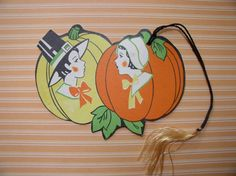 Vintage Thanksgiving Bridge Tally Card Pilgrims Pumpkins