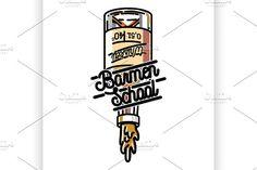 Color vintage barmen school emblem by Netkoff on @creativemarket