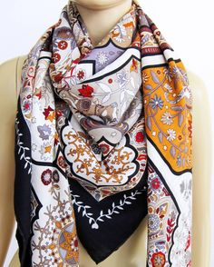 Hermes Aux Porte du Palais Black Beige Rouge Cashmere Silk GM Shawl Gorgeous | From a collection of rare vintage scarves at https://www.1stdibs.com/fashion/accessories/scarves/