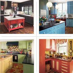 Cabinet color combinations that work well together: kitchens with colorful painted kitchen cabinets