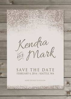 Glittery Save the Date Wedding Announcement by GaiaDesignStudios