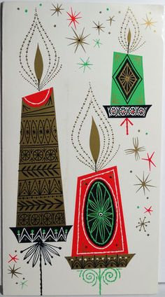 50s Mid Century Modern Candles Vintage Christmas Card 1508 | eBay