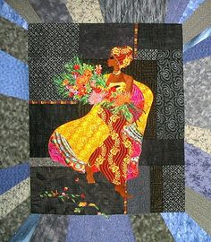 "Zenobia- 54"" x 60""	2006 Original designed African Flower Girl. In my imagination, there was a time when Africa was populated by a society of beautiful people, rich in culture. Zenobia is a young girl just returning from the flower market. She wears her finest dress and robes, adorned by 3-dimensional, hand beaded jewelry and trapunto headdress."
