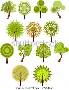 stock vector : Collection of clip-art - 13 designs of summer trees - ideas for applique or embroidered tree shapes. Tree Branch Tattoo, Summer Trees, Tree Logos, Tree Shapes, Stock Image, Flower Doodles, Tree Silhouette, Posca, Tree Designs