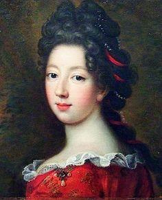 """""""Princesse de Condé"""" by François de Troy (1690) - Louise Françoise, the Princesse de Condé, was a daughter of Louis XIV and Madame de Montespan."""