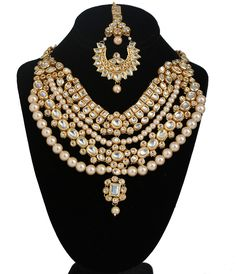 Bridal & Wedding Party Jewelry Beautiful Party Wear Matte Finish Topaz Kundan Choker Gold Imitation Jewellery Set India